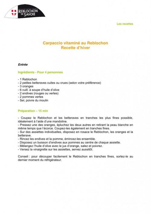 Carpaccio vitaminé au Reblochon