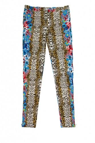 JUS D ORANGE_Jean leopard fleuri turquoise_59e